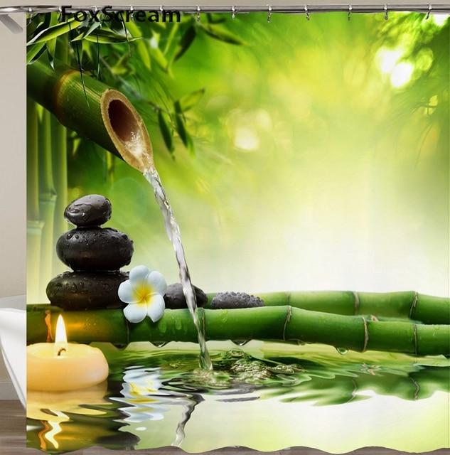 Impermeabile Tenda Della Doccia con Ganci Verde Scena Tende Da Bagno Da Bagno di