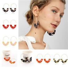 купить 2019 Fashion Female Earrings Za Vintage Leopard Earrings Exaggeration Geometric Statement Acrylic Earrings For Women Jewelry дешево