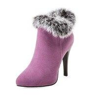 High Heel Women Shoes Winter fur Thin Heel Female Winter Shoes Footwear Black Red Ladies Women Ankle Boots