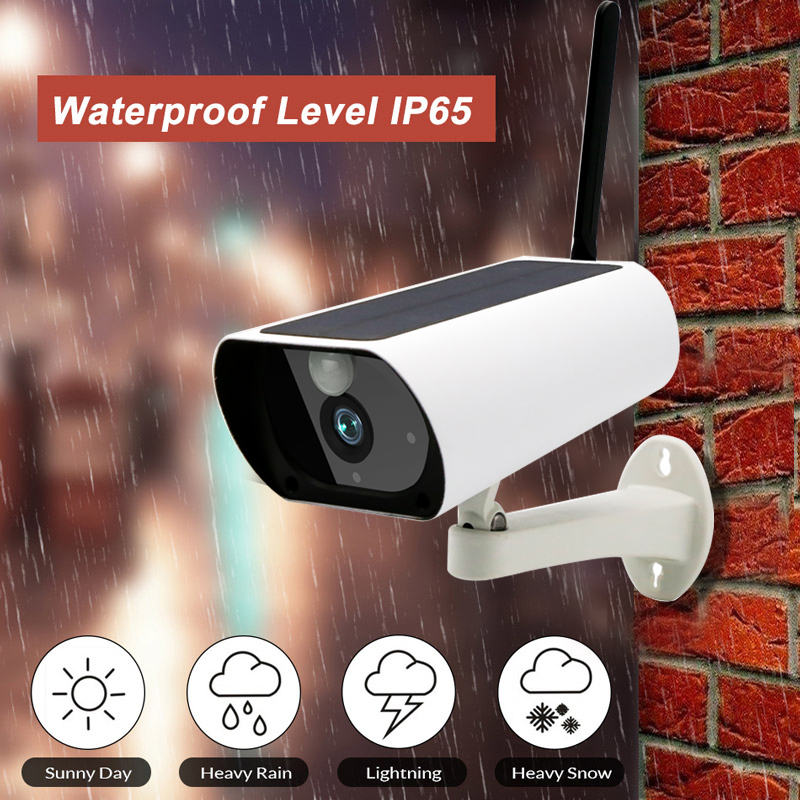 Solar 1080P HD Wifi Wireless IP Camera Home Security Surveillance Waterproof Outdoor IR Night Vision Two Way Cam with Battery