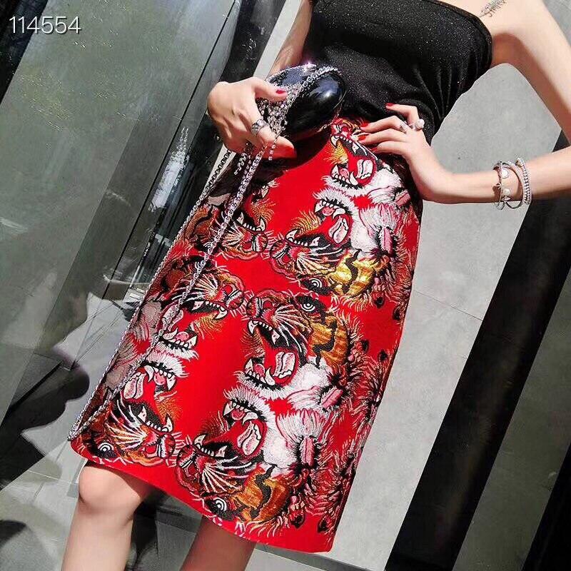 Longueur Femmes Dames Crayon Bureau Vêtements Mode Au Printemps Style Empire Vintage Broderie 2019 Jupe Rouge De Genou nkPO8wX0