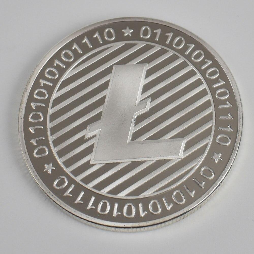 Позолоченные Биткоин Бит монета пульсация Litecoin эфириум коллекция подарок 40 мм криптовалюта монета металлическая памятная монета - Цвет: silver Litecoin