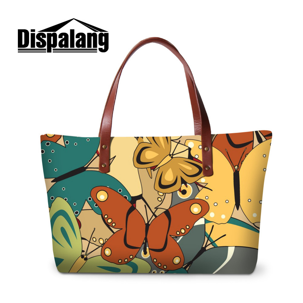 Dispalang Women Handbags Butterfly Female Big Tote Hand Bag Flower Ladies Shoulder Bag Large Capacity Beach Bag Bolsa Feminina brand designer large capacity ladies brown black beige casual tote shoulder bag handbags for women lady female bolsa feminina