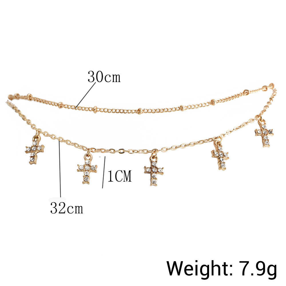 Gold color Choker Necklace for women short layers cross Pendant Chain Necklaces & Pendants Lace velvet chokers Fashion Jewelry