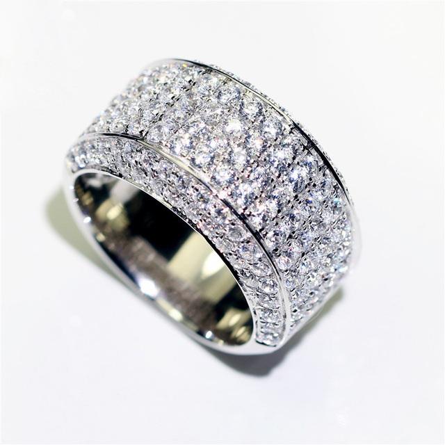 AEAW Luxury Center 10mm Width DF Color VVS Moissanite Engagement Ring for Men Solid 14K 585 White Gold Ring