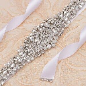 Image 3 - MissRDress Zilveren Diamanten Bruiloft Riem 31 inch Crystal Bridal Sash Strass Bruids Riem Voor Bruiloft Accessoires JK854