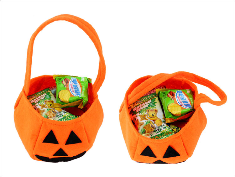 wholesale 100 pcs Halloween holiday smile pumpkin bag kids c