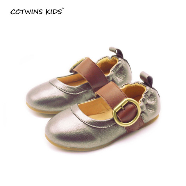CCTWINS KIDS spring autunm children flat genuine leather for toddler brand gold ballet baby girl fashion dance shoe silvery
