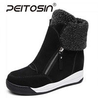 PEITOSIN Fashion Women Sneakers Wedges Platform Casual Shoes High Top Woman Black Brown Ladies Shoes Autumn Winter Female 35 40