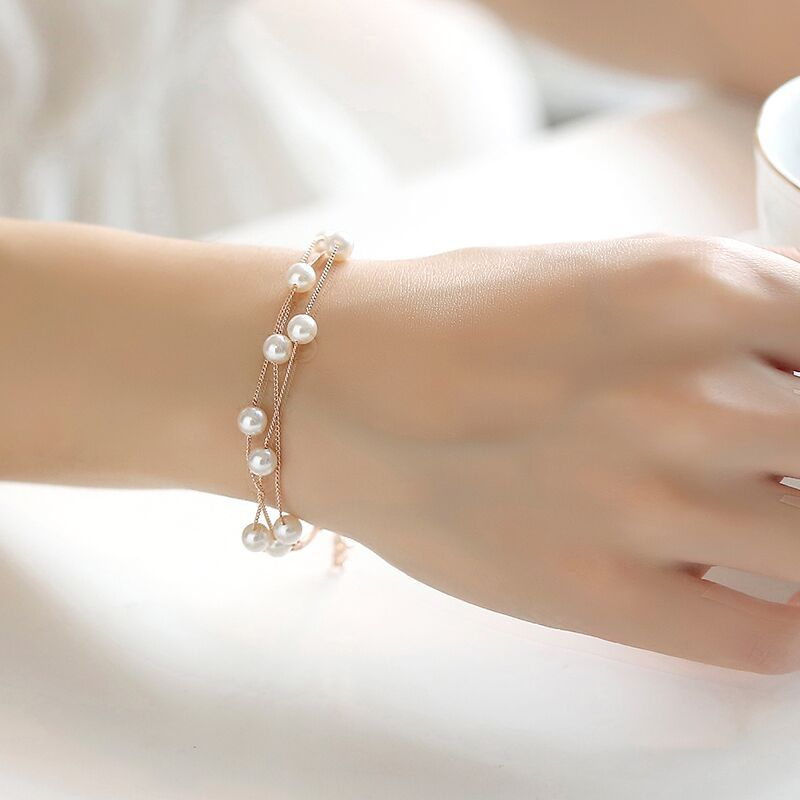 Simple Sweet Imitation Pearl Bracelet For Women Fashion Double Layer Jewelry Bijoux Cute Ladies Bracelets & Bangles