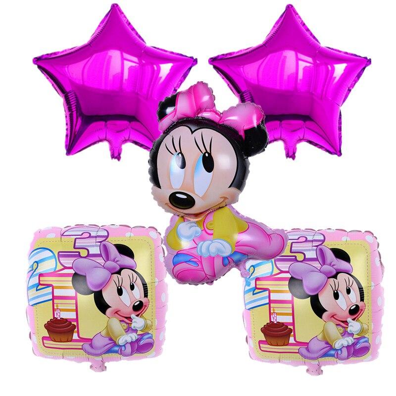 5 pcs New Arrival Mickey Mouse Happy Birthday Balloon Decoration Cartoon Party Foil Balloon Birthday Mickey Minnie