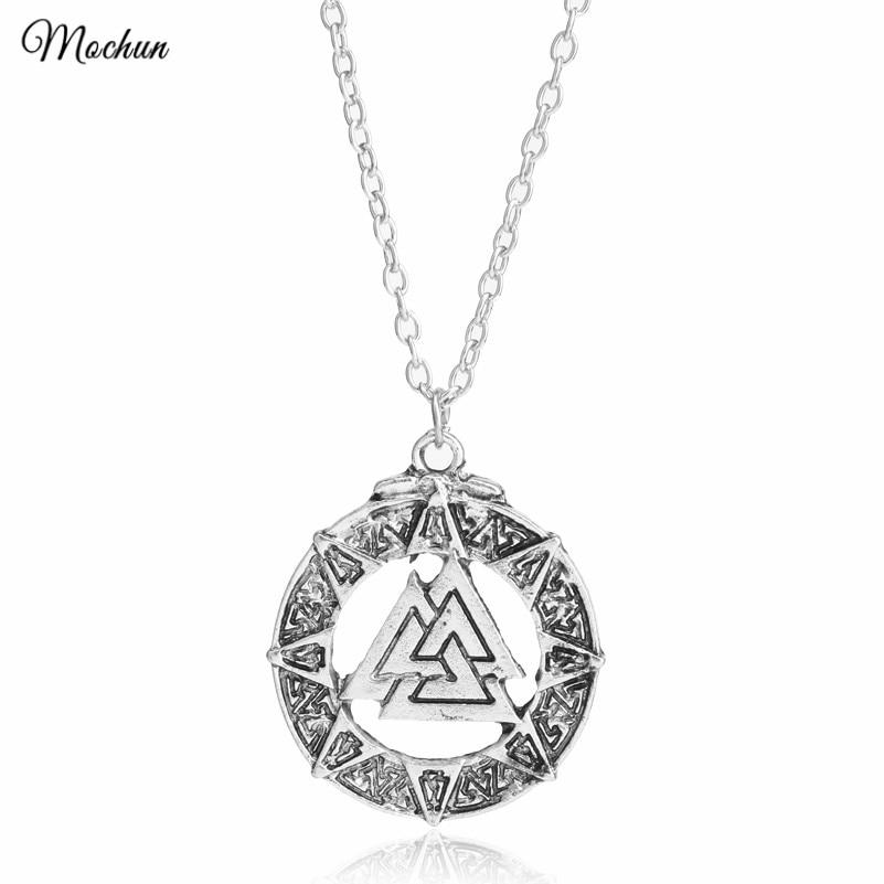 MQCHUN Slavic Norway Valknut pagan amulet pendant Men necklace Scandinavian Viking jewelry Odins Symbol of Norse Viking Warrior