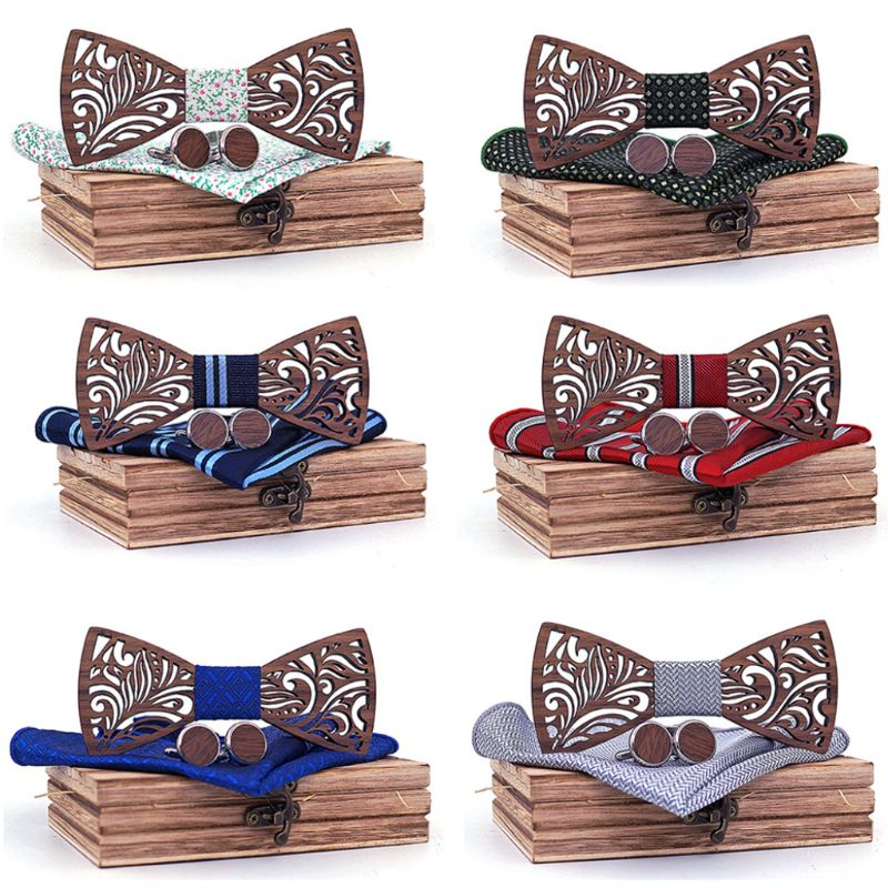 Wooden Bow Tie Set And Handkerchief Cufflinks Bowtie Necktie Gift For Men Wedding Party