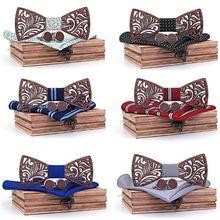 цена на Wooden Bow Tie Set And Handkerchief Cufflinks Bowtie Necktie Gift For Men Wedding Party