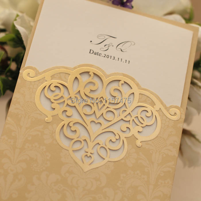 Free shipping hi7004 hot sale pocket cards gold light brown key words wedding invitation wedding invitation cards wedding cards wedding invites invitation for parties hot sale invitation gold and ivory stopboris Images