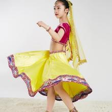 Sarees India Traditional Children Costume Ethnic Style Girl Performance Dance Suits top+skirt+scarf