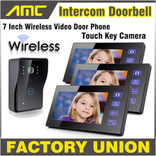 Wireless Video Door Phone Doorbell Intercom with Touch Key waterproof Camera home video intercom system 1 Camera 3 Monitor