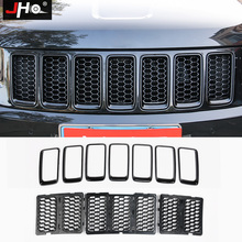 JHO ABS Front Grille Insert Meshes Bezel Frame Cover Trim For Jeep Grand Cherokee 2014-2018 2015 2016 17 Car Styling Accessories цены онлайн