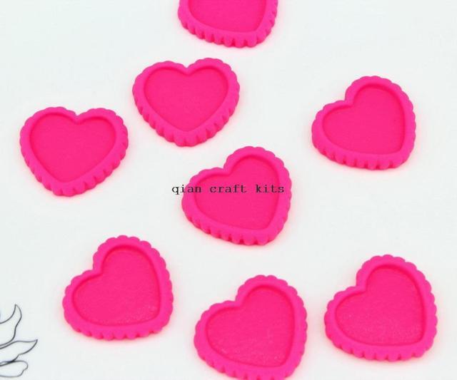 120pcs big hot pink Resin Cameo Setting Heart Bezel, Blank Heart ...