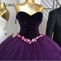African Women Purple Wedding Dresses Ball Gown 2017 Flowers Appliqued Sweetheart Robe De Mariage Tulle Bridal Dress Floor Length