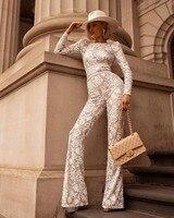New Arrivals Sexy Lace Sequins Black White Bandage Jumpsuit Women 2019 Ladies Fashion Designer Boot Cut Party Jumpsuit