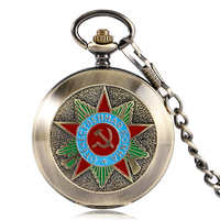 Vintage Hand Winding Mechanical Pocket Watch Steampunk Russia Soviet Sickle Hammer Communism Pendant Chain for Men Women Gifts