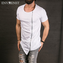 2017 New Men's Fashion Show Stylish Long T shirt Asymmetrical Side Zipper Big Neck Short Sleeve T-shirt Male Hip Hop  Tee