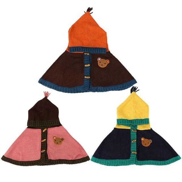Los niños lindos del bebé capa con capucha botón de madera del ...