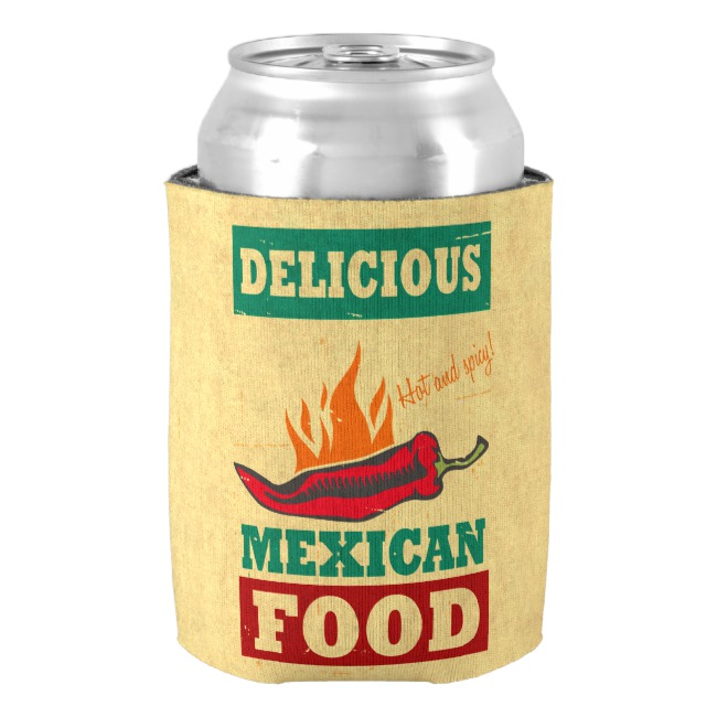 Mexican Food Can Cooler,Neoprene Beer Can Cooler,Hot Food Drink Beer Cooler Bottle,Funny Beverage Insulator,Party Decor Gifts