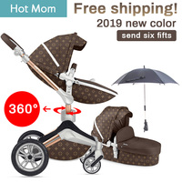 Free Ship Hot Mom Baby Stroller Fashion and High Landscape Stroller Luxury baby carriage send umbrella 2 in 1 Baby Pram umbrella