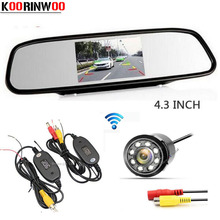 Koorinwoo 4 3 Screen LCD TFT Car Mirror Monitor Backup Reverse cam Night vision 8 infrared