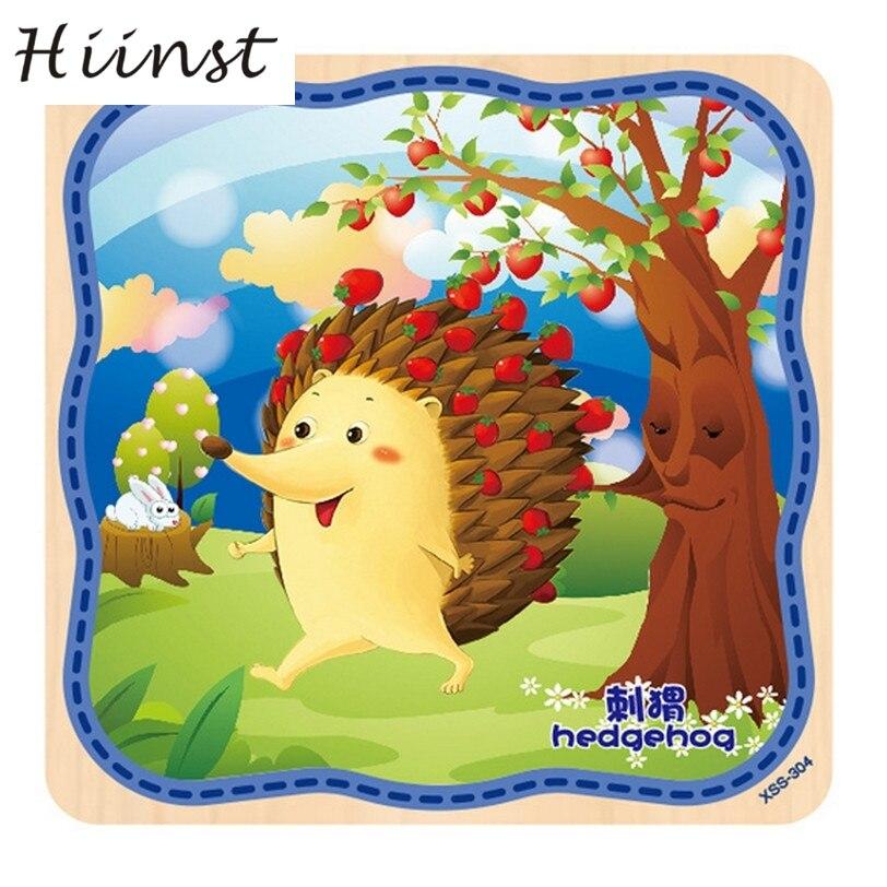 HIINST toys kids 2017 wholesale Wooden Puzzle Educational Hedgehog carton Developmental Toy*R Drop