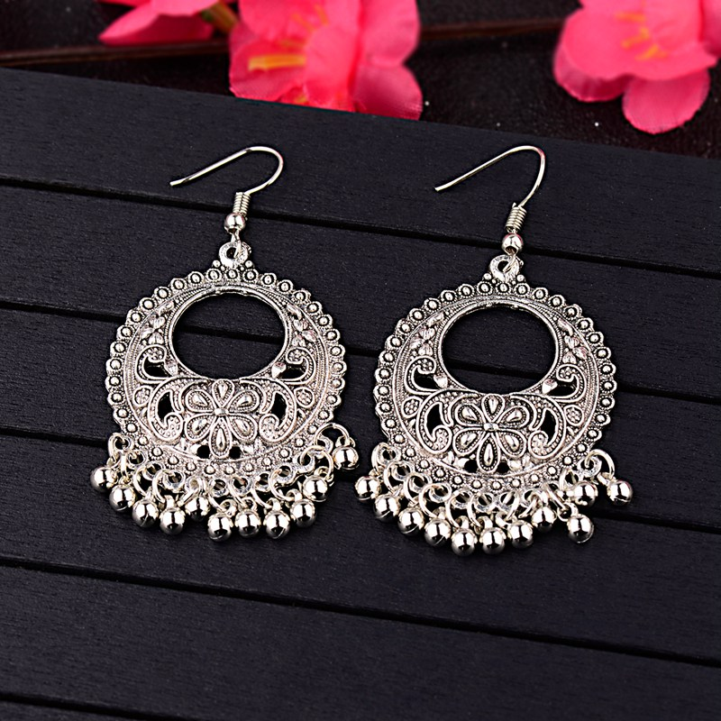 DOUVEI Jhumka Indian Jewelry Dangle Earrings Party Gift Antique Silver Plated Rhinestone Classic Drop Earrings For Women HQE471