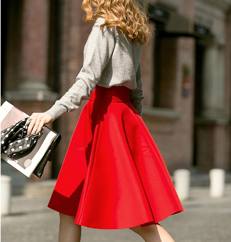 Femininas Fashion Elegant Solid Long Skirts 2018 Street Style Autumn Women's Solid Black Casual High Waist Vintage Midi Skirt