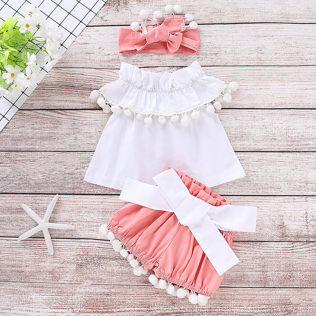 fa9aeafdafe1 Perimedes 3PCS Baby Girls Summer Clothes Sets Infant Baby Girls Sleeveless  Ruffles Solid Tops+Tassels Shorts Headband Outfits ~ Super Deal June 2019
