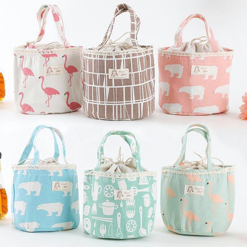 Fashion Flamingos Lunch Bag Insulation Package Portable for Women Men Kids Picnic Bag Insulated Lunch Cylinder Bag 18*15*7CM