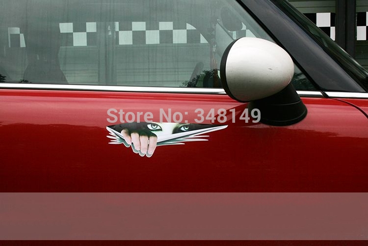 Car Decoration Funny Car Sticker And Decal Monster Eyes Peeking For Chevrolet Cruze Ford Focus VW Golf Skoda Kia Opel Honda