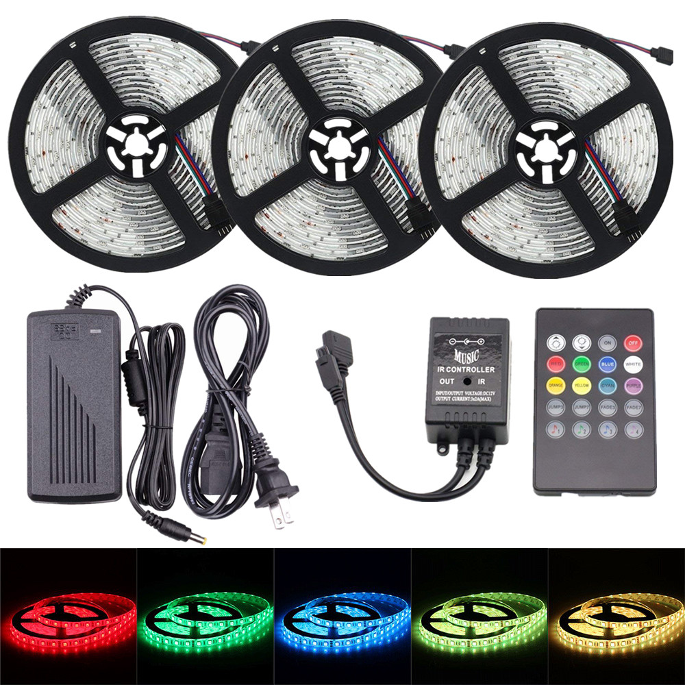 LED Strip Lights Sync To Music SMD 5050 12V Flexible RGB