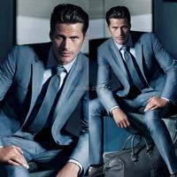 New Arrival Custom Thực Hiện Màu Xanh Đậm Hiện Đại Chú Rể Mặc Tuxedo Best Man Suit Cưới Cổ Điển (áo + Quần) không có Rủi Ro Hàng Fall-Winter