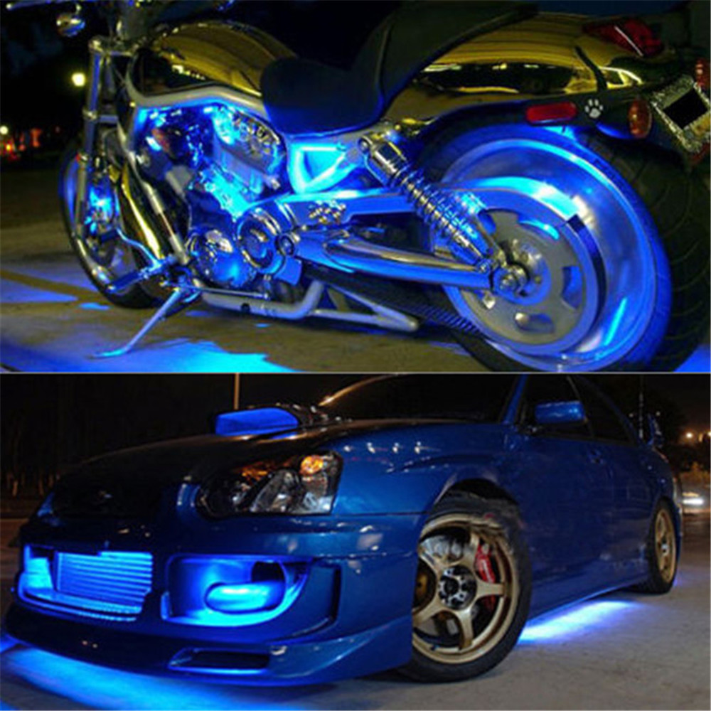 High quality 4x 15 blue led 12v 30cm waterproof car trucks motor high quality 4x 15 blue led 12v 30cm waterproof car trucks motor grill flexible light strips support for home or automotive use in car headlight bulbsled aloadofball Choice Image
