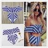 2017 Sexy Bikini Set High Waist Swimwear Women Striped Biquini Ruffled Swim Bathing Suit White Blue
