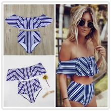 2017 Sexy bikini Set High Waist Swimwear Women Striped Biquini Ruffled Swim Bathing Suit White Blue Swimsuit Vintage Bikinis(China)