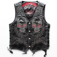 Genuine Leather Vest Men Skull Hip Hop Swag Punk Rock Head Cowhide Sleeveless Jackets Embroidery Streetwear Motorcycle Cool Coat