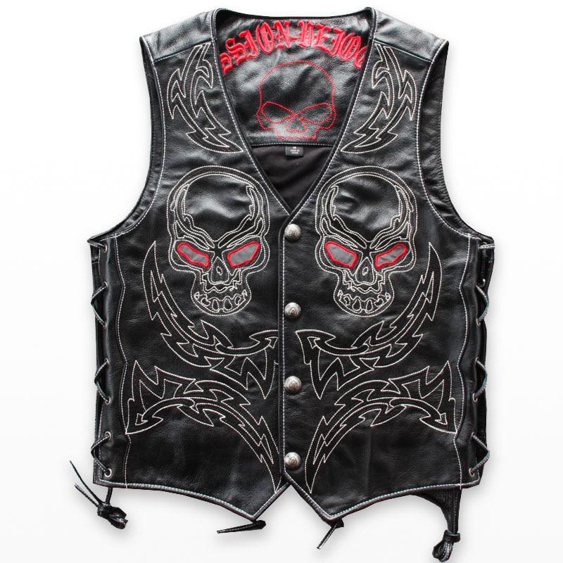Erkek Kıyafeti'ten Jileler ve Yelekler'de Hakiki Deri Yelek Erkekler Kafatası Hip Hop Yağma Punk Rock Kafa Inek Derisi Kolsuz Ceketler Nakış Streetwear Motosiklet Serin Ceket'da  Grup 1