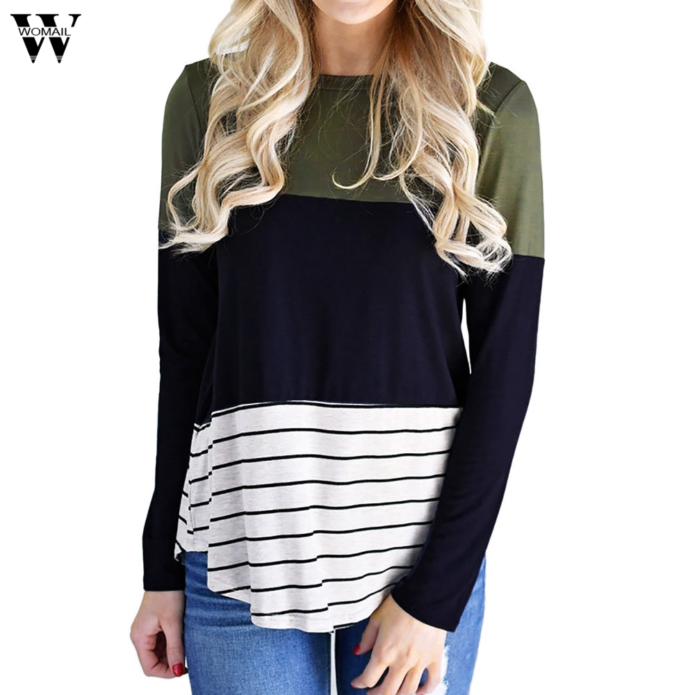 Womail Women Casual Shirts Striped Color Block Long Sleeve O-Neck Tops Gils T-Shirt New Arrival 2018 Fashion Shirts Dec27