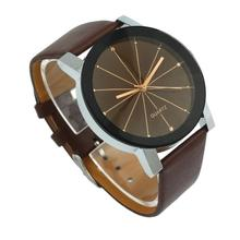 Quartz Wristwatches 1PC Men Quartz Dial Clock Leather Wrist Watch Round Case308