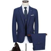 3pc Costume Homme Fashion Vintage Slim Fit Men Suit Plus Size Solid Blue Business Formal Wear