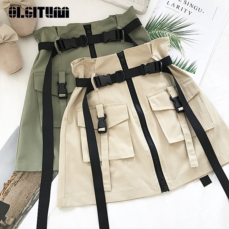 Safari Style Skirt Female 2020 Summer Casual Solid Bud Skirt With Pocket Sashes Zipper Skirt Loose High Waist Jupe Skirt Female