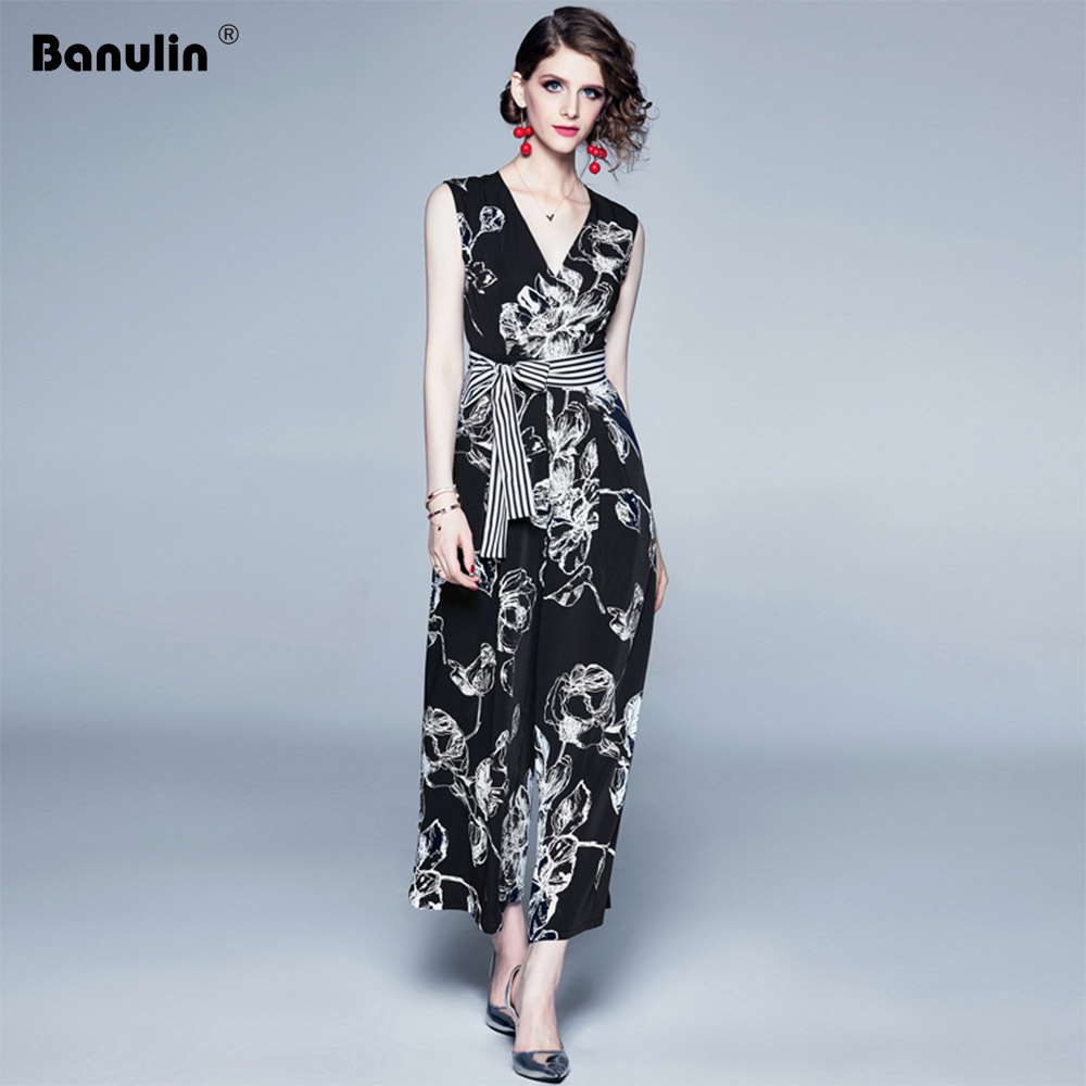Banulin Celebrity Runway Jumpsuits For Women 2019 Summer Sexy Black Bow Romper Long Jumpsuit V neck Wide Leng Playsuit in Jumpsuits from Women 39 s Clothing