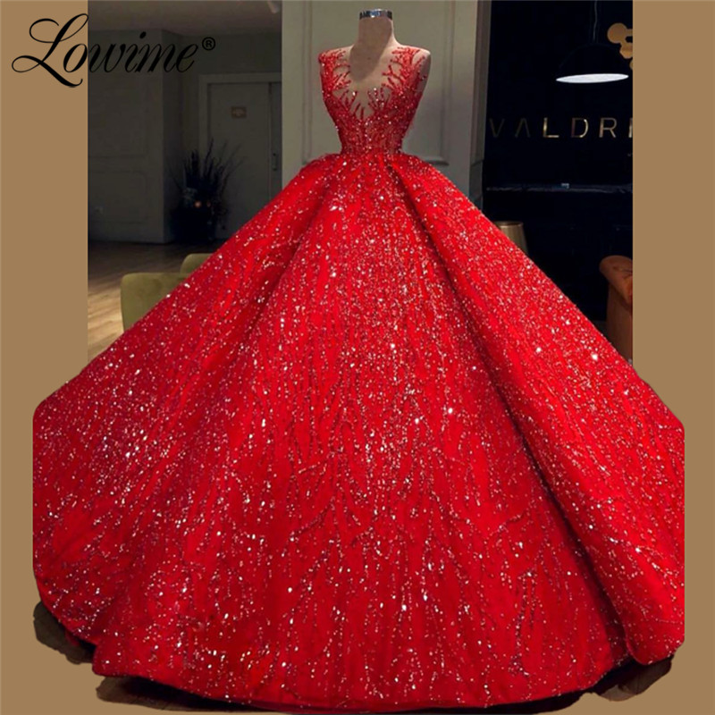 Glitter   Prom     Dresses   Evening   Dress   2019 Red Robe De Soiree Arabic Celebrity Party Gowns Couture Dubai Middle East Women   Dresses